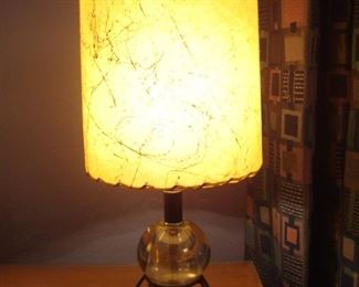 Bedroom:  This is one of a pair of short Mid-Century Modern glass ball/wire base lamps.