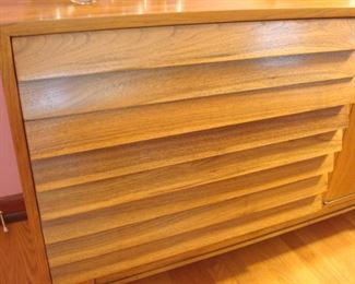 "Dining Area:  This is a closer photo of the louvered drawers on the Mid-Century Modern ""American of Martinsville"" sideboard."