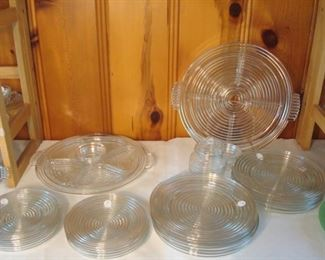 "Family Room:  More ""Manhattan:""  winged tidbit sets; salad plates; dinner plates; and coasters."
