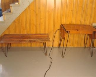 Lower Level:  Two mid-century modern pine tables with hair pin legs are separately price. The one on the right has drop leaves.