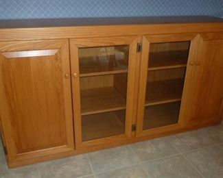 "Modern Honey Oak Buffet/ Server Cabinet, 4 doors, 18""d X 71.5""w X 36.5""h: Special, $175"