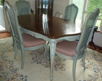 "French Style Painted Dining Table & 4 Chairs w/ 2 leaves by Thomasville; 66.5""w X 45"" d: Special - $145"