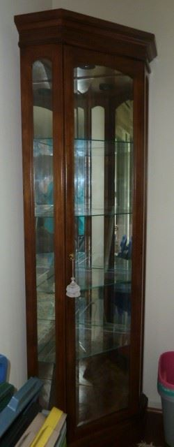 "Corner Cabinet Mirror Back, Glass Shelves, lighted; 78.5""h X 26""w: Special - $125"