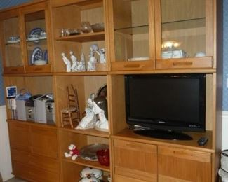 "Sectional China Cabinet, Modern Oak, 3 pcs. w/ drawers & doors; 17.5""d X 88.5"" w X 78.25"" h, CABINET ONLY: Special - $195"