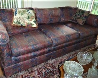 Sofa, as is; Paisley Fabric; comfortable & usable but faded w/ tears: FREE