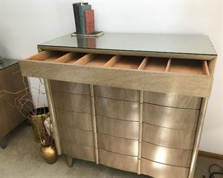 MCM Chest with metal caps and glass