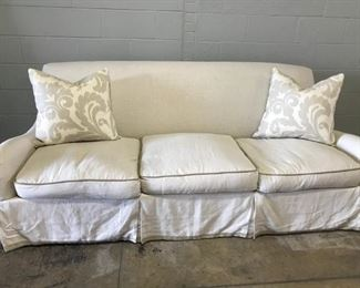 "Custom linen sofa with greek key trim and custom cording :: $950 :: Size: 85.5"" L x 34"" D x 34"" h x 22.5"" arm height :: Pillows are $75 each"