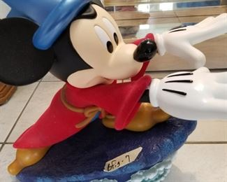 """BFIG-7 ($150) Mickey Mouse as the Sorcerer's Apprentice surfing!  Measures 17""""L x 8""""w x 18""""h.  Two pieces.  Great condition."""