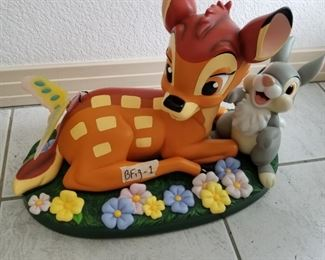 """BFIG-1 ($150) Disney Big Fig """"Butterfly"""" shows Bambi and Thumper.  This is a Limited Edition of only 300 by Costa Alevezos.  Measures 17"""" x 10"""" x 12""""h.  There is one flaw and it is on the butterfly.  It is cracked down the center.  It is held on by a wire and both wings are attached, just not connected to one another.  This comes in 3 separate pieces."""