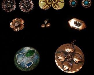 #3 Vintage copper jewelry lot. Earrings,pins, +pendant. 7 pcs. $45oo