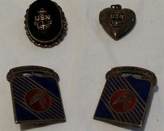 #4 Sterling silver military lot. Pins and locket. 4 pcs. $50