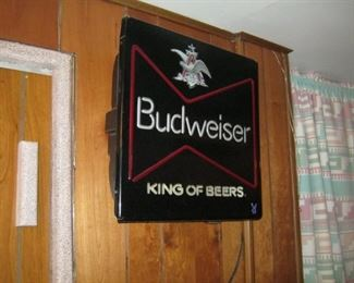Lighted Budweiser sign