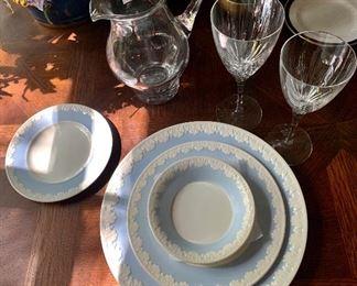 A large set of Wedgewood Albion Corinthian Blue china