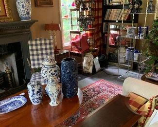 A peak into the living room filled with antiques and decorative arts!