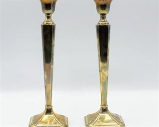 """Pair of M. Fred Hirsch Vintage Sterling Silver Candlesticks 10"""" Tall"""