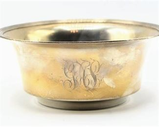 Antique Sterling Silver Bowl - Engraved with the date Feb. 21. 1901 and Initials Monogram