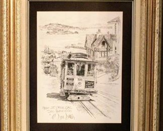"""1977 Don Davey Signed """"Hyde St. Cable Car San Francisco"""" Drawing"""