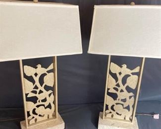 Beautiful Metal Lamps with Cut Out Birds and Stone Bases