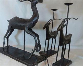 Metal Reindeer Candle Holders