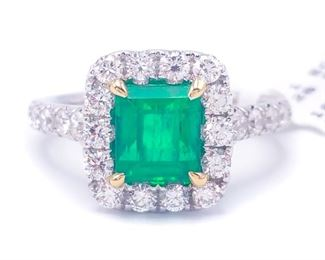 Breathtaking ~2 1/2 Carat Natural Columbian Emerald and Diamond Ring in 18k White Gold; $16,000