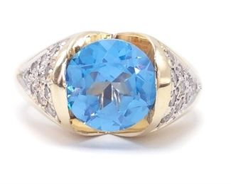 Bright Light Blue Sapphire and Diamond Estate Ring in 14k Yellow Gold; $7250