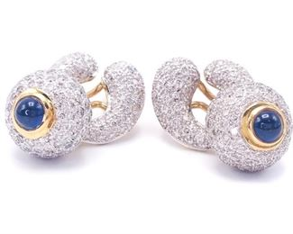 High-End Designer Sapphire and Diamond Interchangeable Earrings in 18k Gold; $12,000