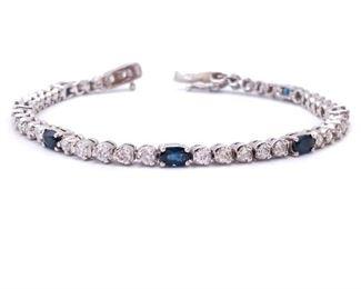 Desirable Sapphire and Diamond Estate Tennis Bracelet in 14k White Gold; $5150