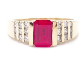 Gorgeous, Large Ruby and Diamond Estate Ring in 14k Yellow Gold
