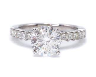 Classic 1.58 Carat Diamond Estate Ring in 14k White Gold; $6450