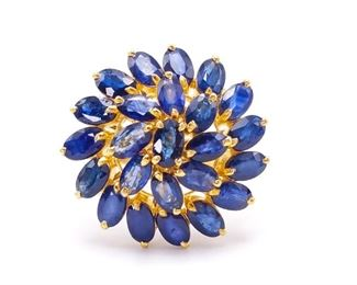 Gorgeous ~6.48 Carat Natural Sapphire Cluster Estate Ring in 18k Yellow Gold; $6750