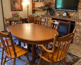 Hardrock Maple Dining Room Table With Six Chairs, Electric Fireplace, TV With Mount, Rug