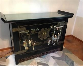 Oriental Glass Topped Jade and Black Lacquer Bar