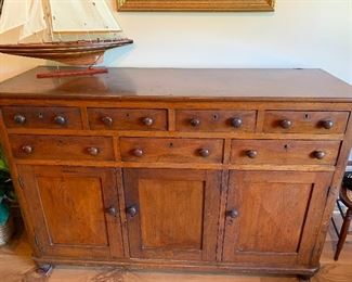 """Beautiful antique Quaker cabinet. This has been in our client's family for four generations. (63"""" L x 21"""" W x 44"""" H)"""