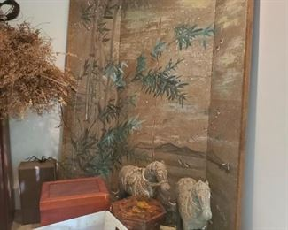 Asian Painted Folding Screen