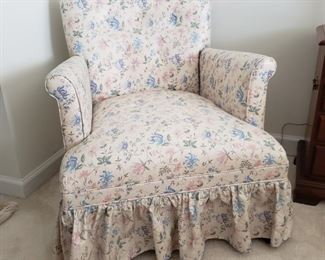 """Flowered chair. 26"""" wide x 28"""" high x 29"""" deep. Some fading in fabric color."""
