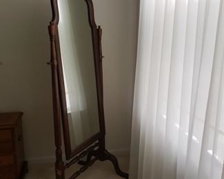 """64"""" tall x 27"""" wide x 23 deep (at foot of mirror).  Frame needs to be tightened up."""