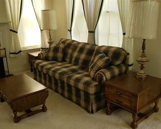 """Plaid three cushion couch. 36"""" deep x 36"""" high x 79"""" wide."""