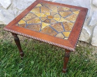 """Tile top table. 16"""" square top x 14.5"""" tall. Legs needs to be tightened."""