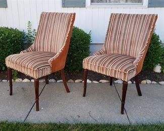 "Pair of Velvet chairs. 36"" tall x 21"" wide x 23"" deep."