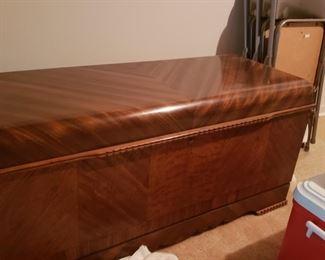 "Lane cedar chest. One shelf.  24"" high x 47"" wide x 18"" deep."