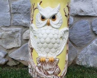 "Owl china umbrella stand. 17"" tall x 9"" diameter."