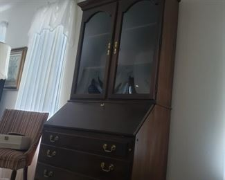 """Glass-fronted secretary. 39.5"""" wide x 21"""" deep x 81"""" tall. 34"""" deep with drop-leaf desk open."""
