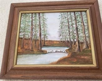 """Oil painting of tall pines. 11"""" x 13""""."""