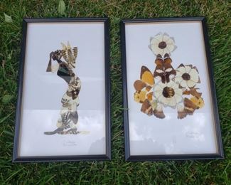 """Pair of art pieces made of butterfly wings. Each piece measures  14"""" x 8.5""""."""