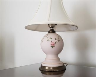 """14"""" high.  Pink ceramic with brass base."""