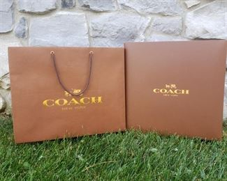 """Authentic Coach Box and Gift Bag.  Box measurements are 14"""" x 14"""" x 6"""""""