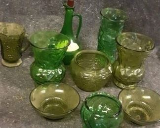 Lot of Green Glassware (9 pieces)
