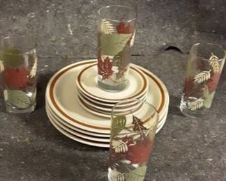 Stoneware Plates and Autumn Glasses