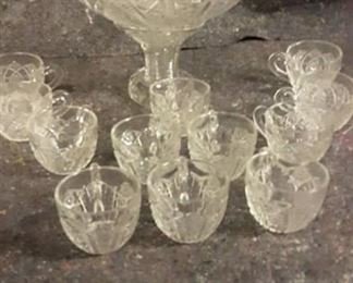 Early American 14 piece Crystal Punch Set