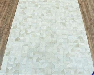 11X8' Hand Stitched Natural Hide Geometric Area Rug